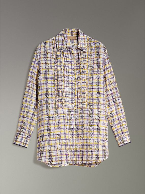 Scribble Check Print Silk Shirt in Heather - Women | Burberry - cell image 3