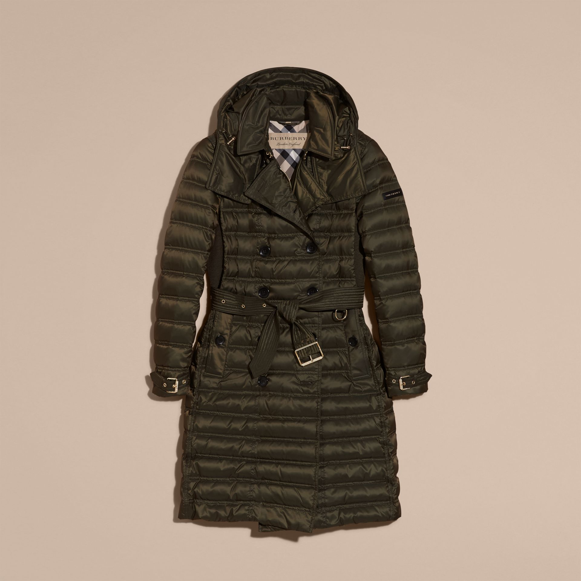 Down-filled Puffer Coat with Detachable Hood in Dark Olive - gallery image 4