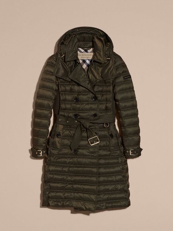 Down-filled Puffer Coat with Detachable Hood in Dark Olive - cell image 3