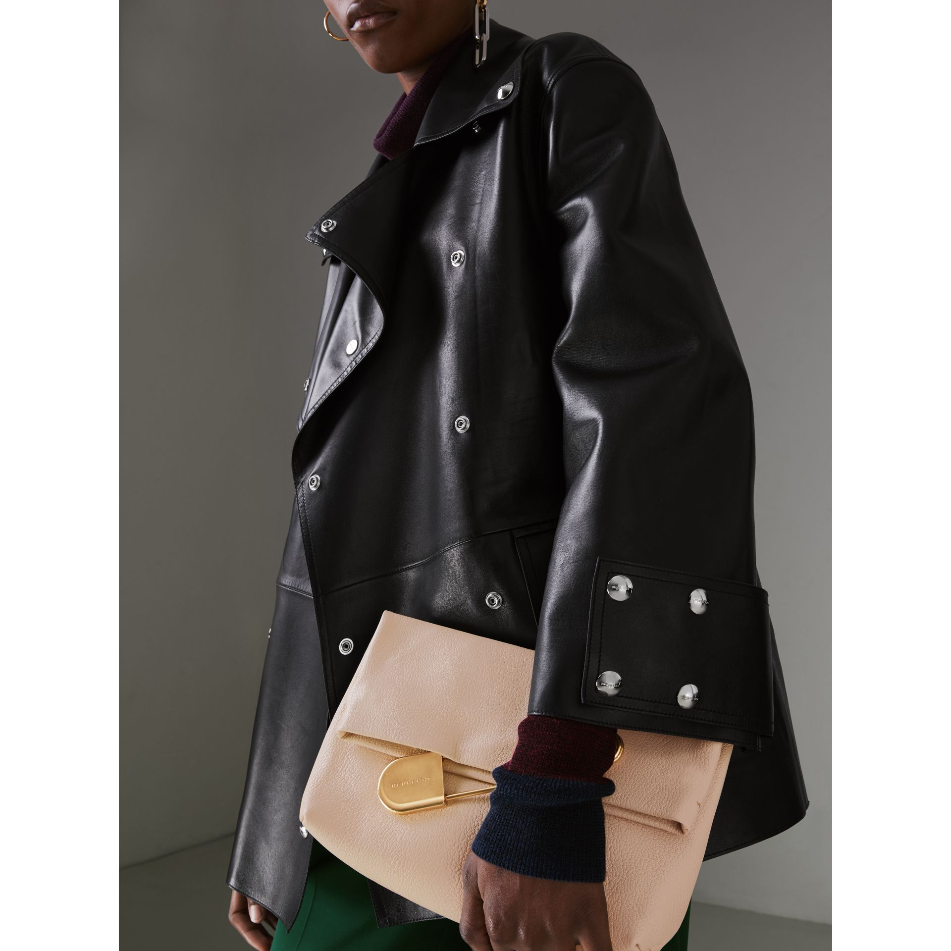 The Medium Pin Clutch in Leather in Stone - Women | Burberry United States - gallery image 3