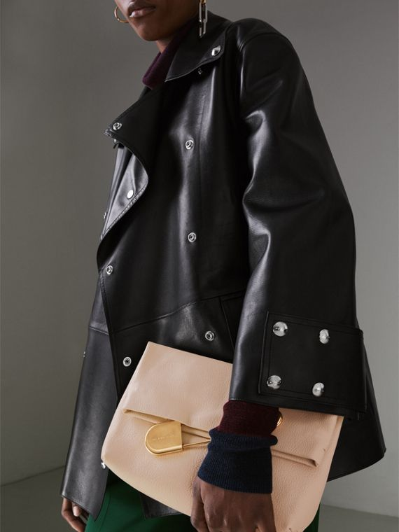 The Medium Pin Clutch in Leather in Stone - Women | Burberry United States - cell image 3