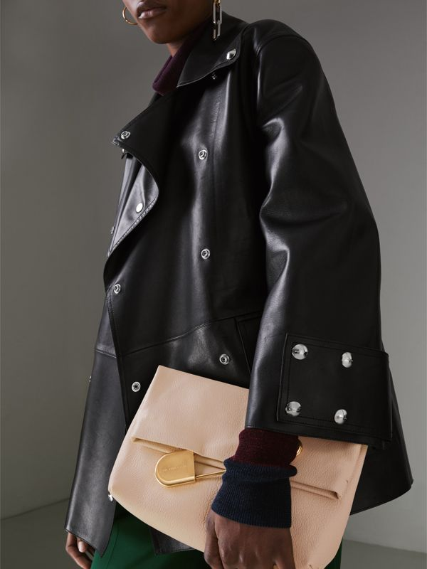 The Medium Pin Clutch in Leather in Stone - Women | Burberry - cell image 3