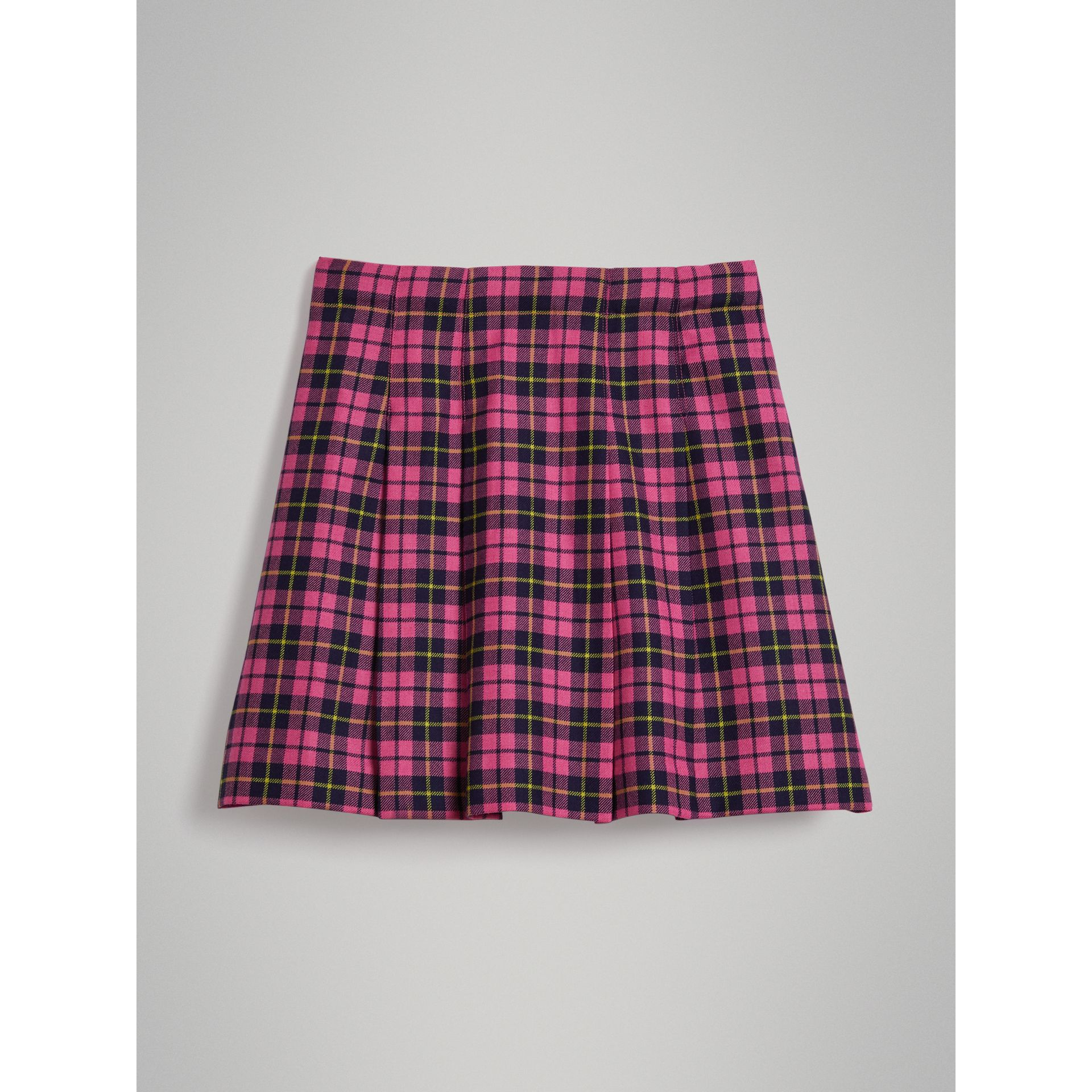 Fringe Detail Tartan Wool Kilt in Neon Pink - Girl | Burberry United Kingdom - gallery image 3