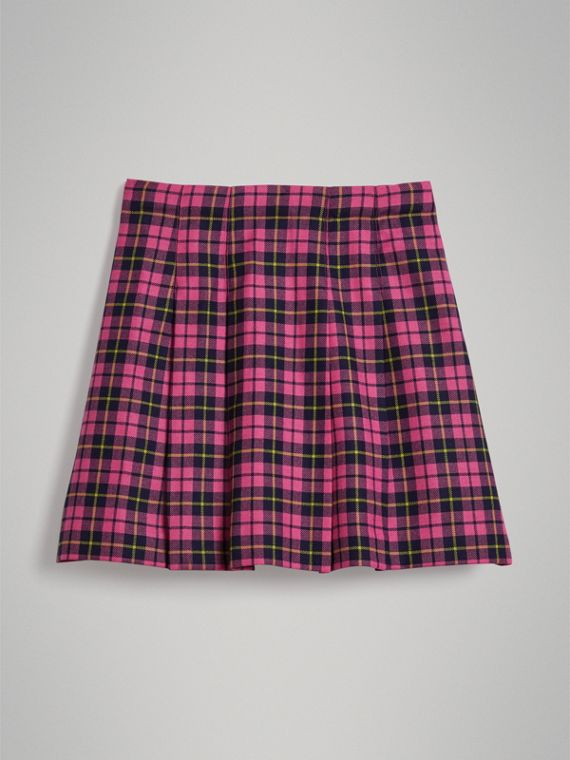 Fringe Detail Tartan Wool Kilt in Neon Pink - Girl | Burberry - cell image 3