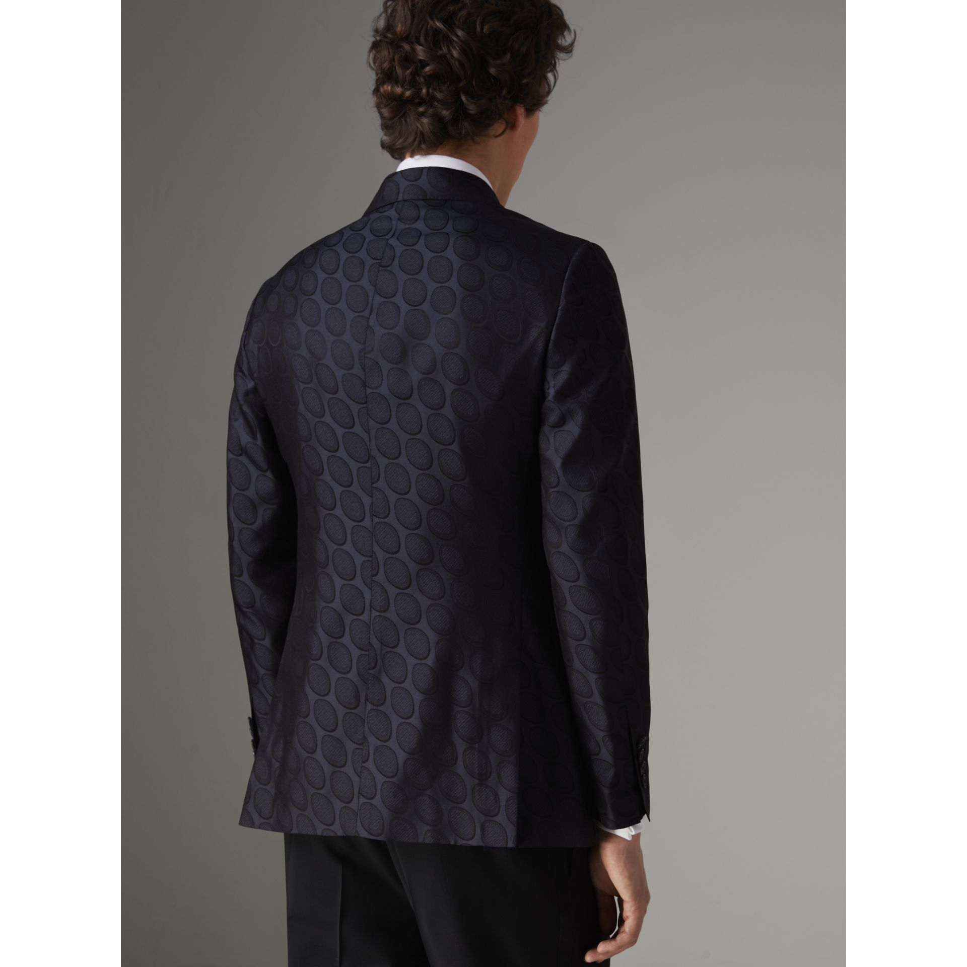 Soho Fit Spot Silk Evening Jacket in Midnight Blue - Men | Burberry Australia - gallery image 2