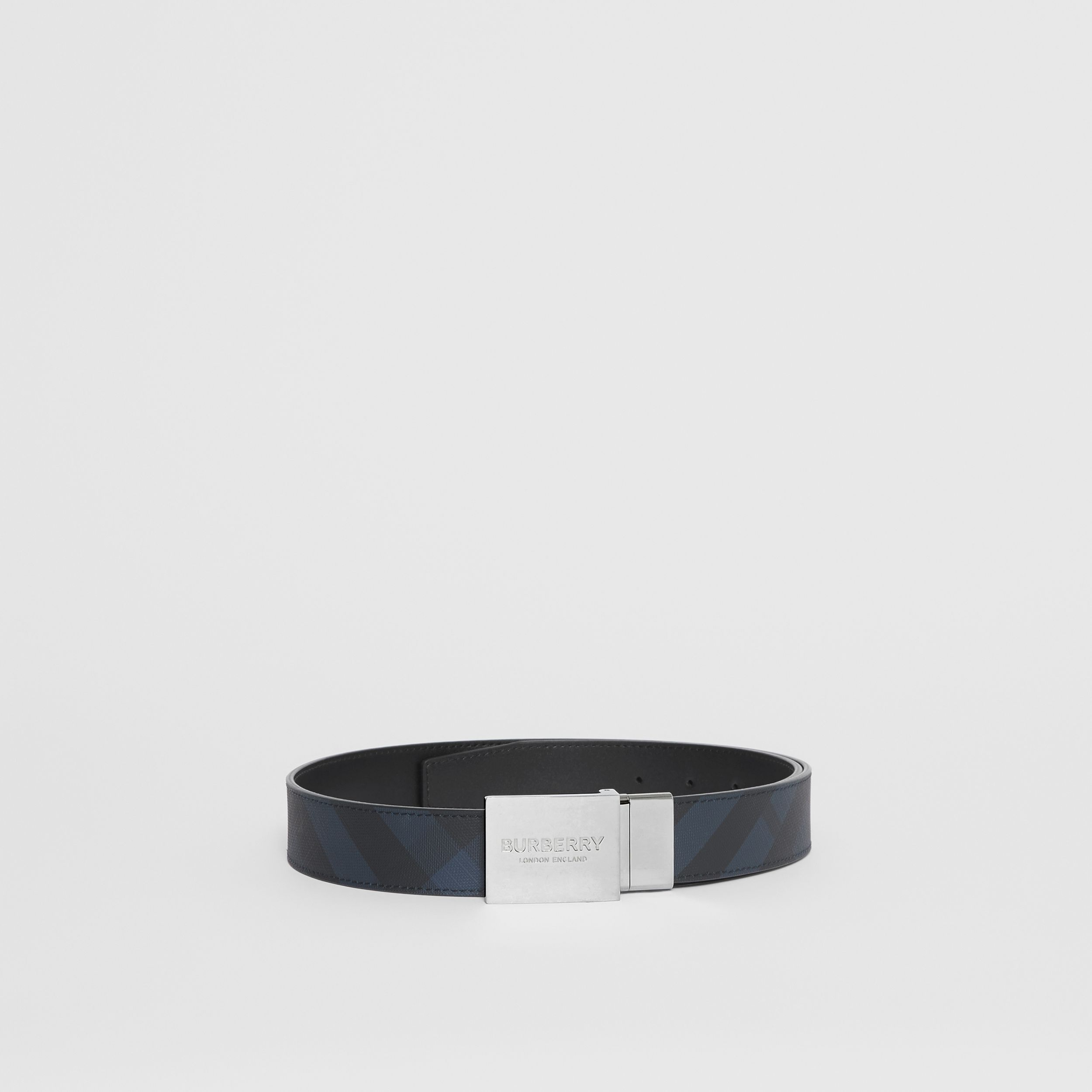 Reversible Plaque Buckle London Check Belt in Navy/black - Men | Burberry - 3