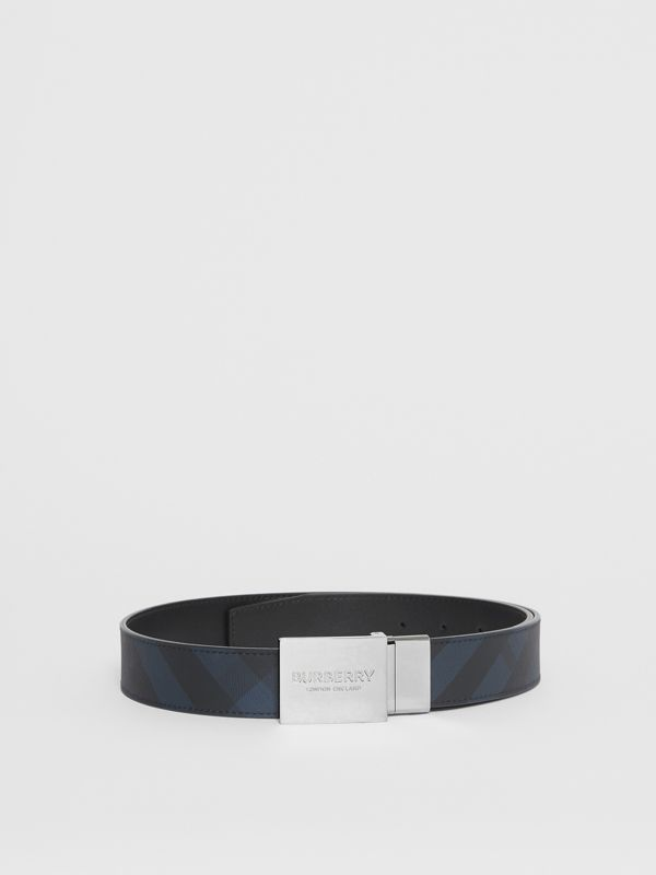 Reversible Plaque Buckle London Check Belt in Navy/black - Men | Burberry - cell image 2