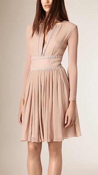 Lace Trim Silk Crepe Dress