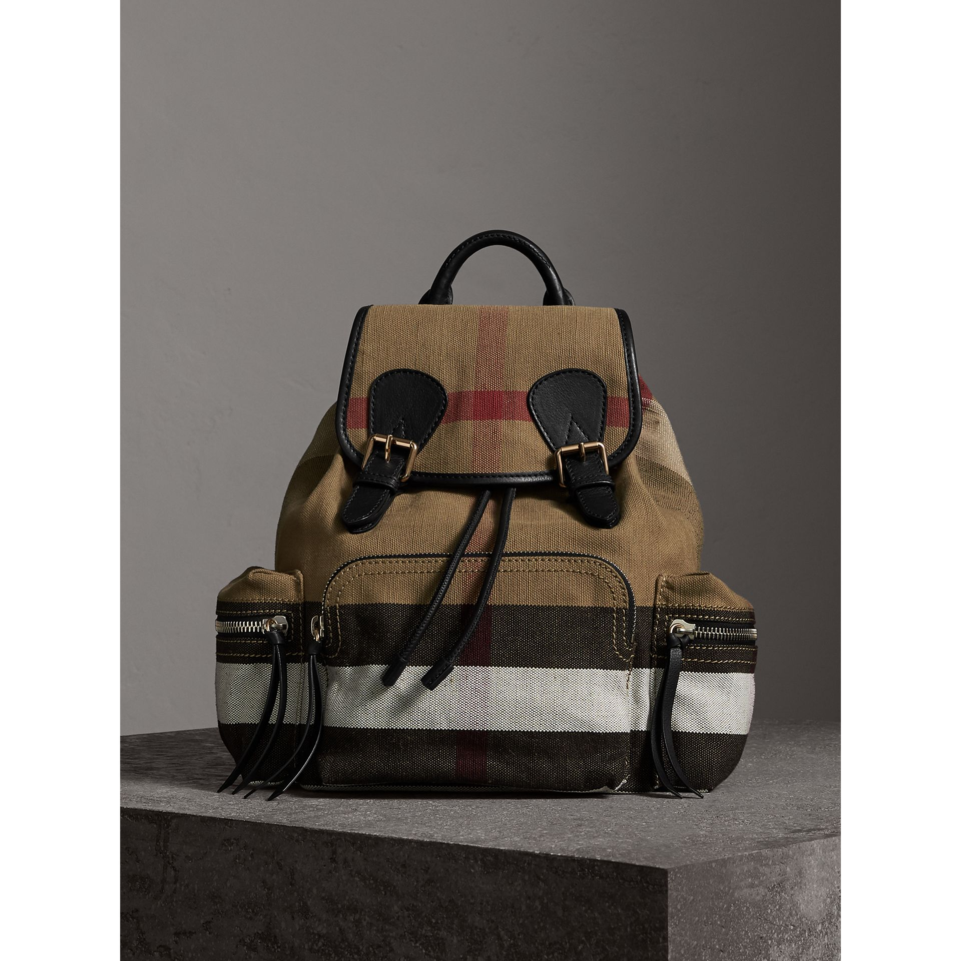 The Medium Rucksack in Canvas Check and Leather in Black - Women | Burberry - gallery image 7