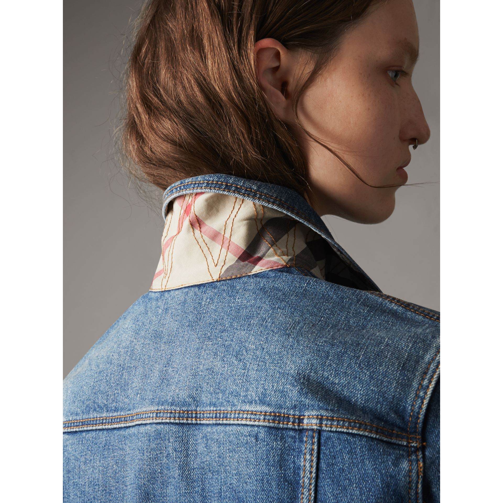Check Detail Denim Jacket in Light Indigo - Women | Burberry - gallery image 5