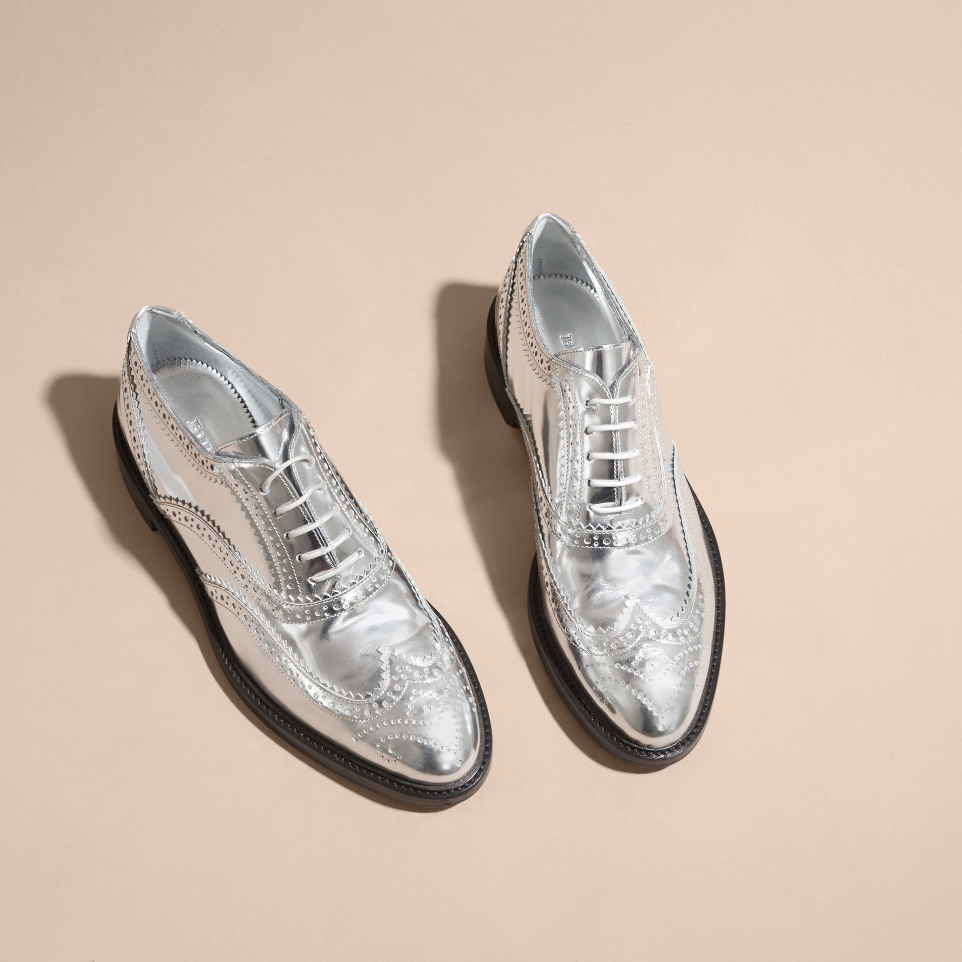 Metallic Leather Wingtip Brogues in Silver - gallery image 3