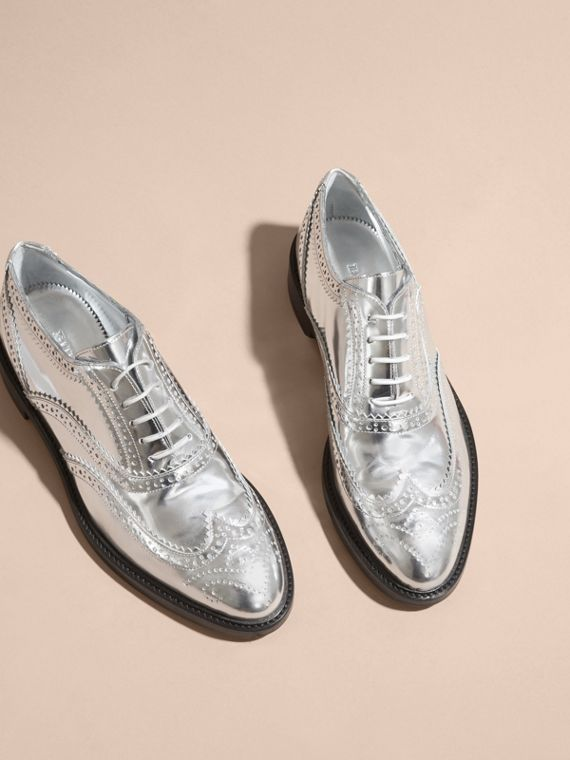 Metallic Leather Wingtip Brogues in Silver - cell image 2