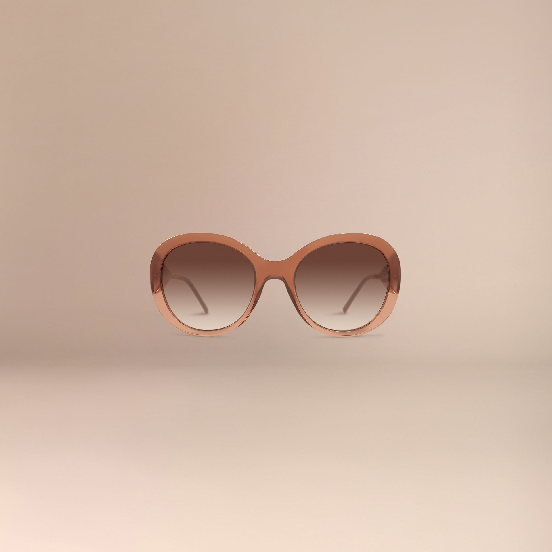 Oversize Round Frame Sunglasses in Fawn Pink - Women | Burberry - gallery image 3