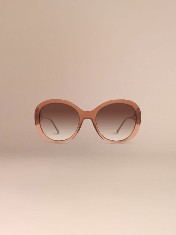 Oversize Round Frame Sunglasses in Fawn Pink - Women | Burberry - cell image 2