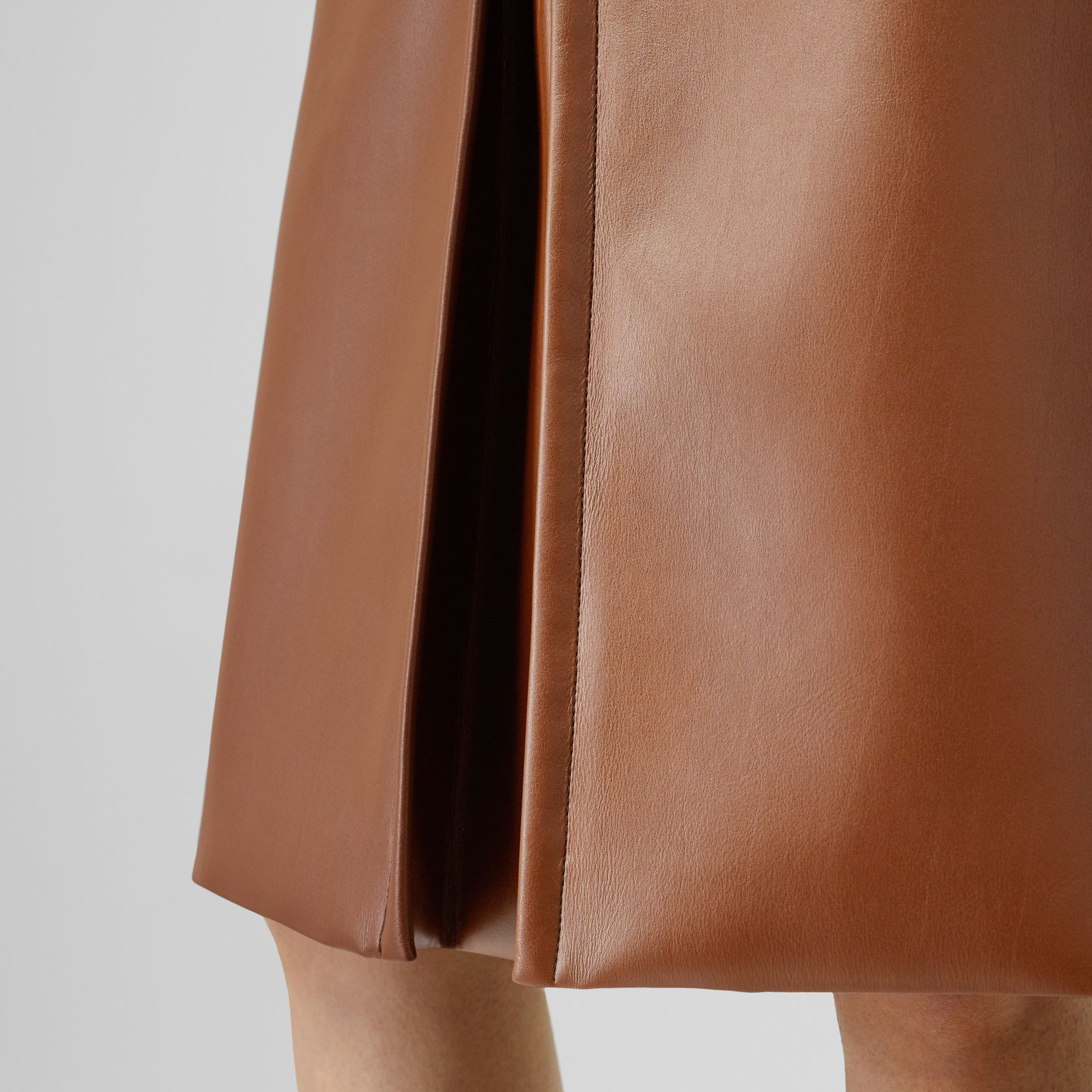 Box Pleat Detail Faux Leather Skirt in Dark Cheshnut Brown - Women | Burberry - gallery image 5