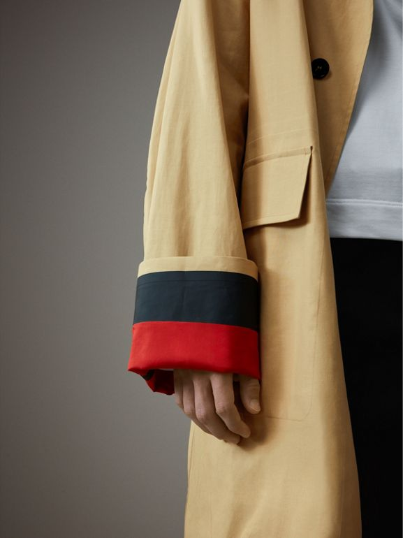 Bonded Cotton Oversized Seam-sealed Car Coat in Beige/red - Men | Burberry - cell image 1