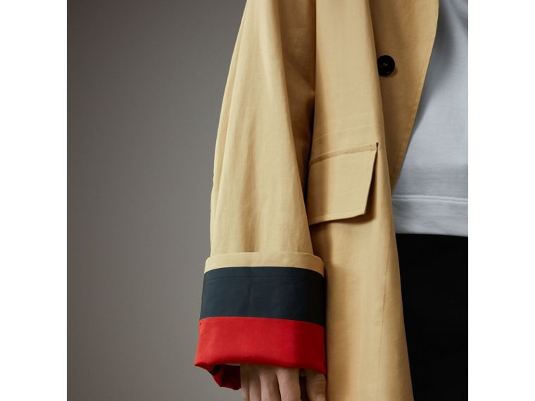 Bonded Cotton Oversized Seam-sealed Car Coat in Beige/red - Men | Burberry Singapore - cell image 1