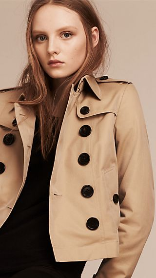 Cropped Cotton Gabardine Trench Jacket