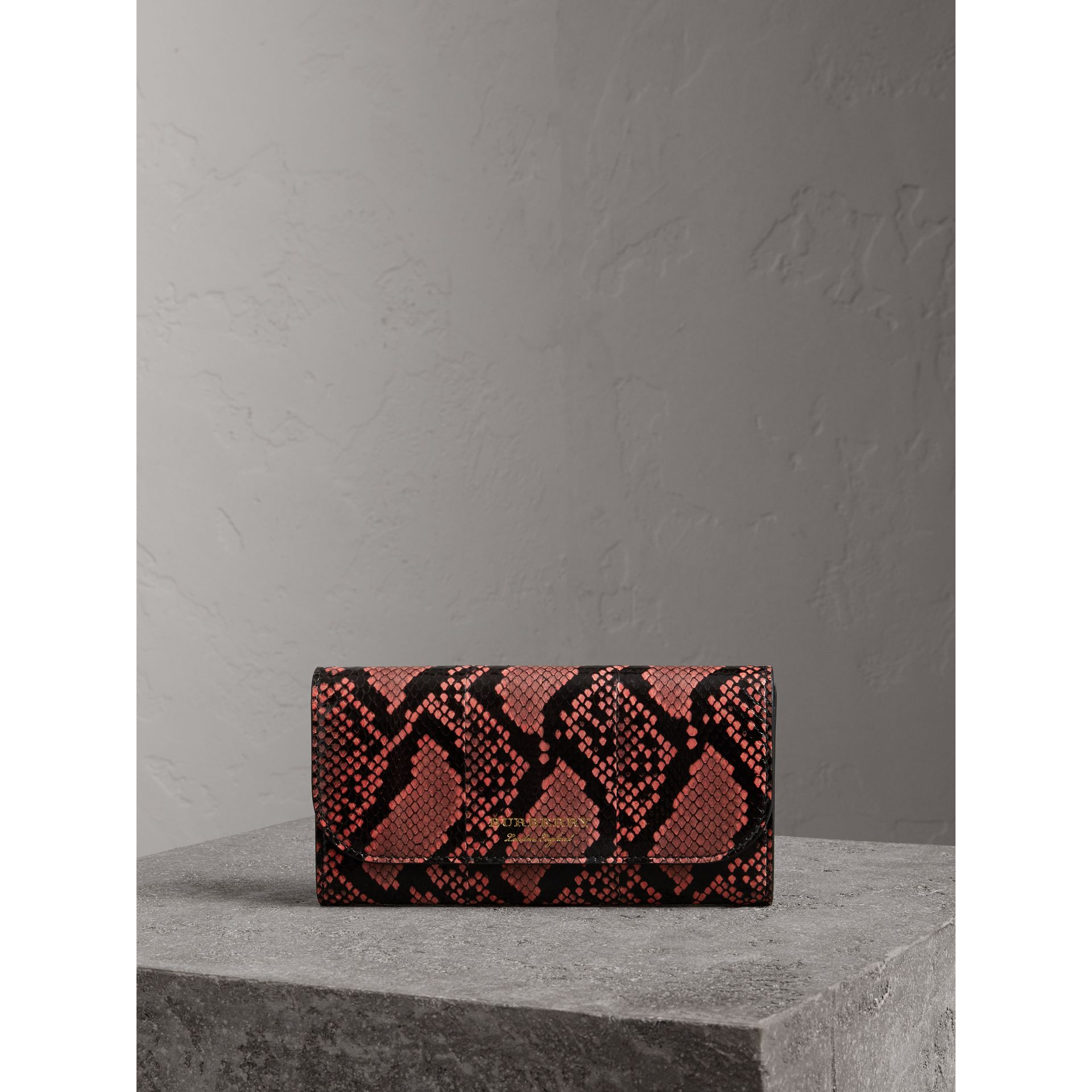 Python and Leather Continental Wallet in Peony - Women | Burberry United States - gallery image 4
