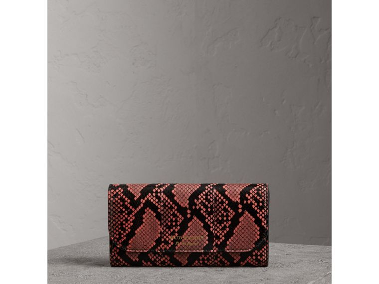 Python and Leather Continental Wallet in Peony - Women | Burberry United States - cell image 4