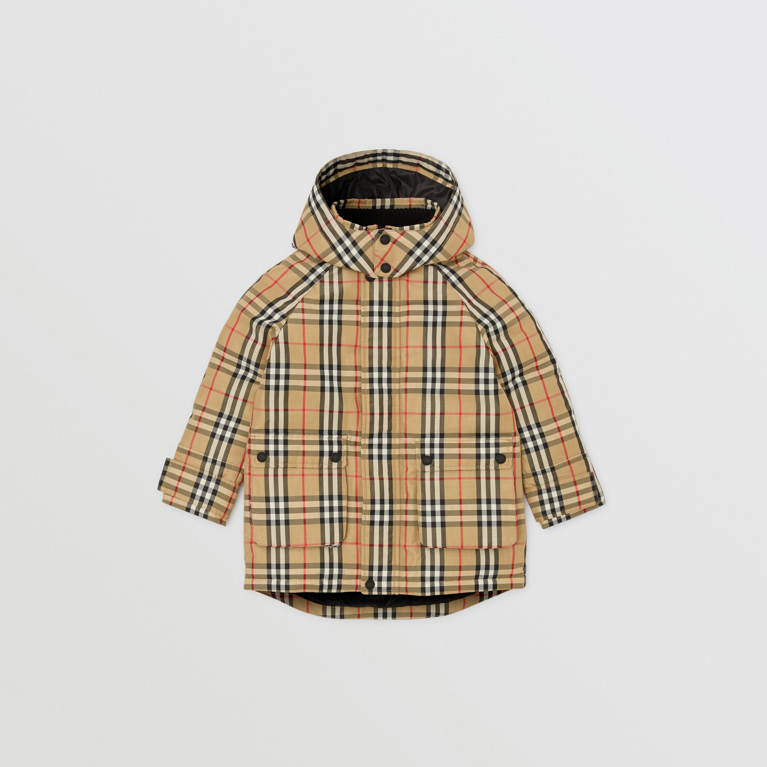 Vintage Check Down-filled Hooded Coat in Archive Beige | Burberry - 1