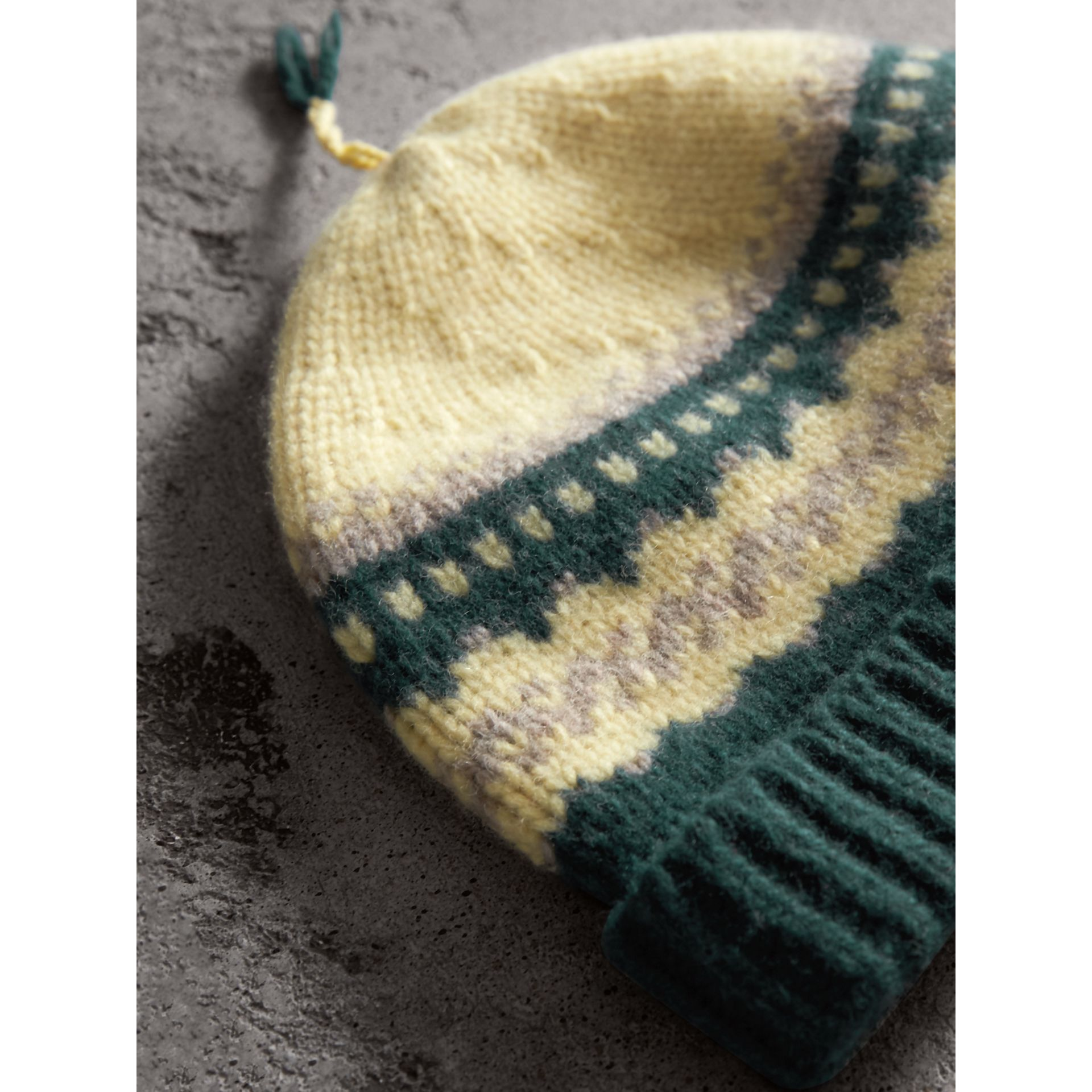 Fair Isle Cashmere Wool Blend Beanie in Pine Green - Women | Burberry - gallery image 1