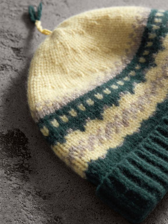 Fair Isle Cashmere Wool Blend Beanie in Pine Green - Women | Burberry - cell image 1