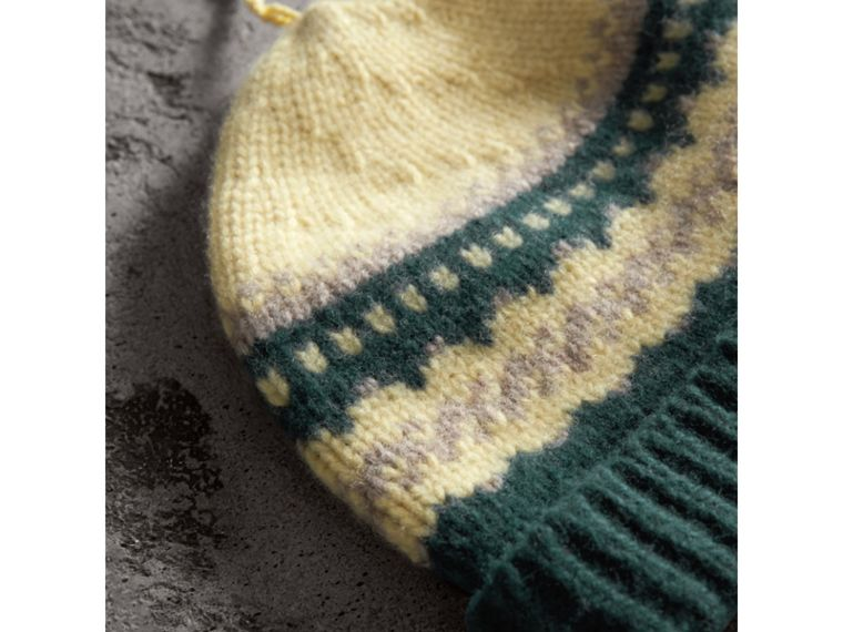 Fair Isle Cashmere Wool Blend Beanie in Pine Green | Burberry - cell image 1