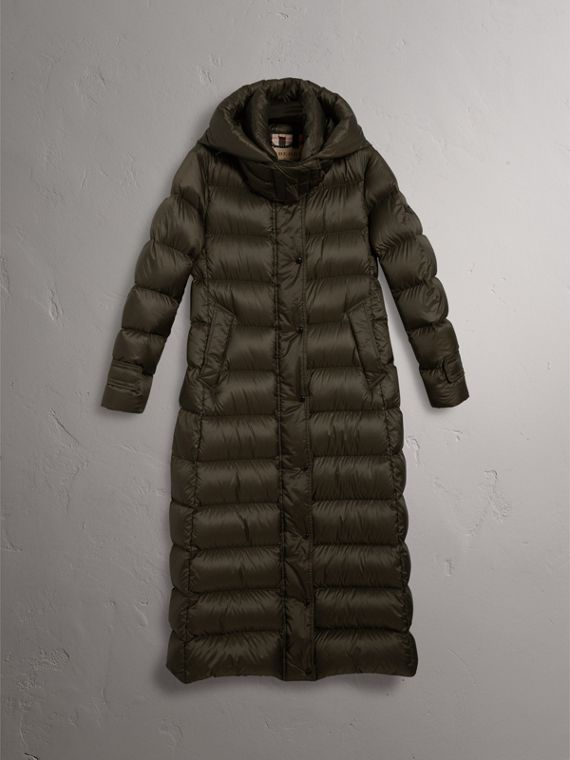 Detachable Hood Long Down-filled Puffer Coat in Olive - Women | Burberry Singapore - cell image 3