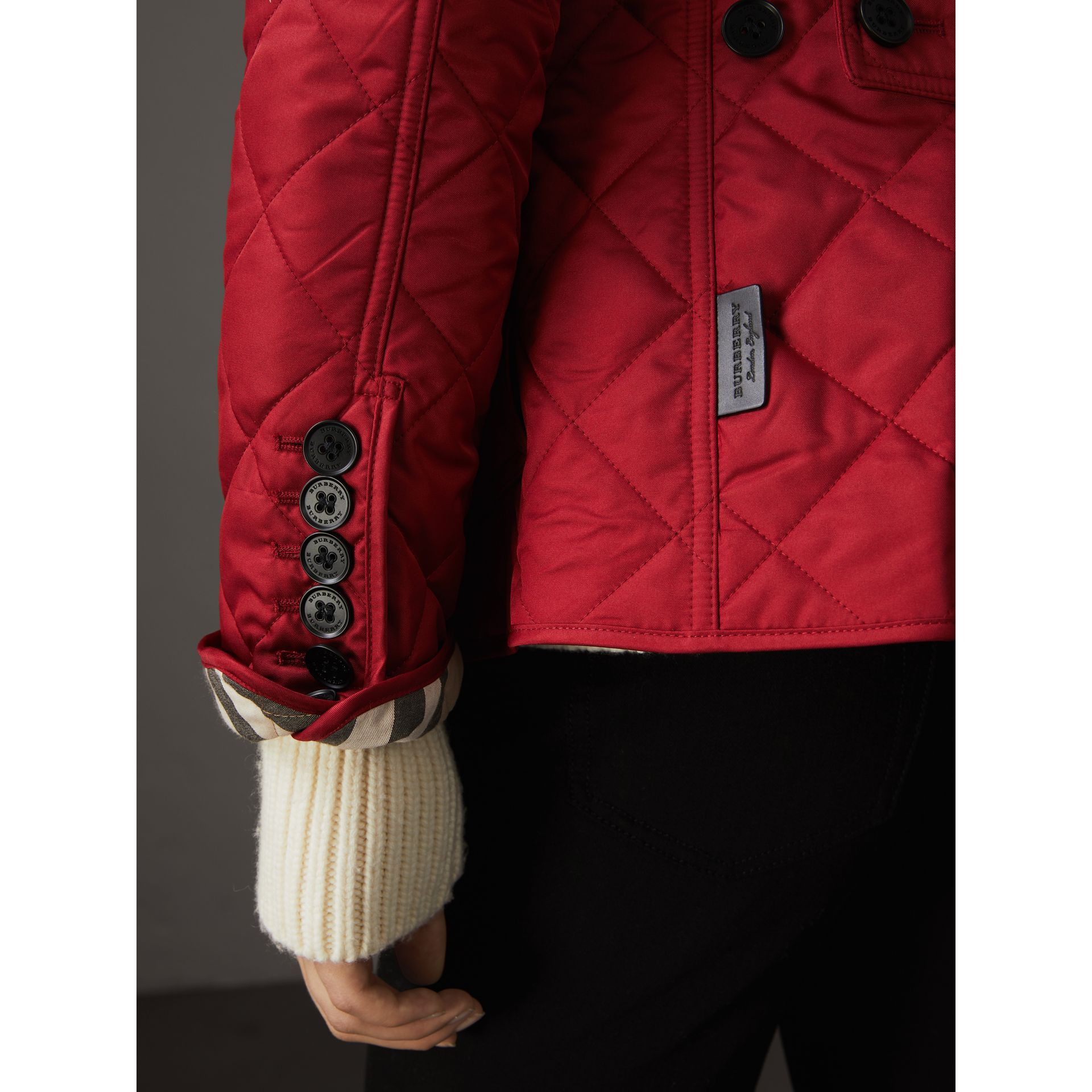 Diamond Quilted Jacket in Parade Red - Women | Burberry Singapore - gallery image 6