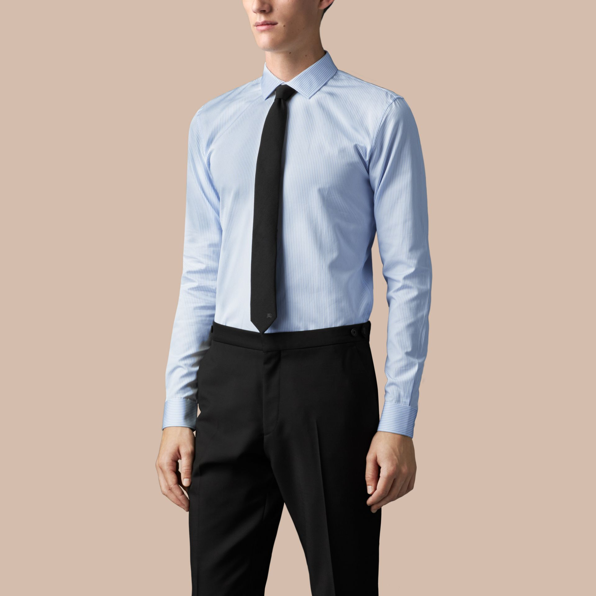 City blue Slim Fit Striped Cotton Shirt - gallery image 1