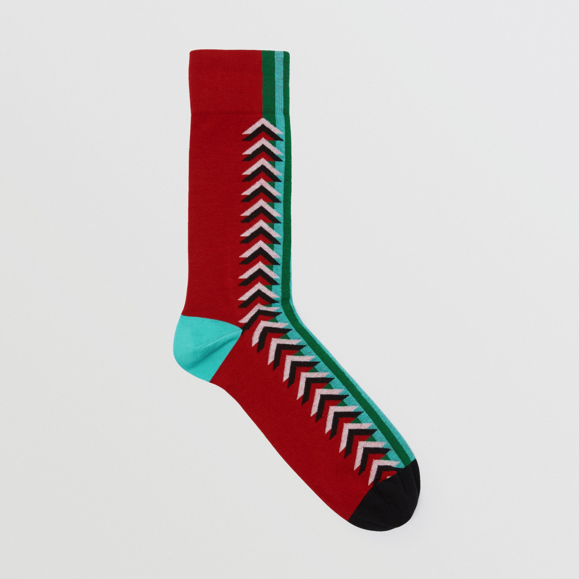 Graphic Intarsia Cotton Blend Socks in Multicolour | Burberry Australia - gallery image 0