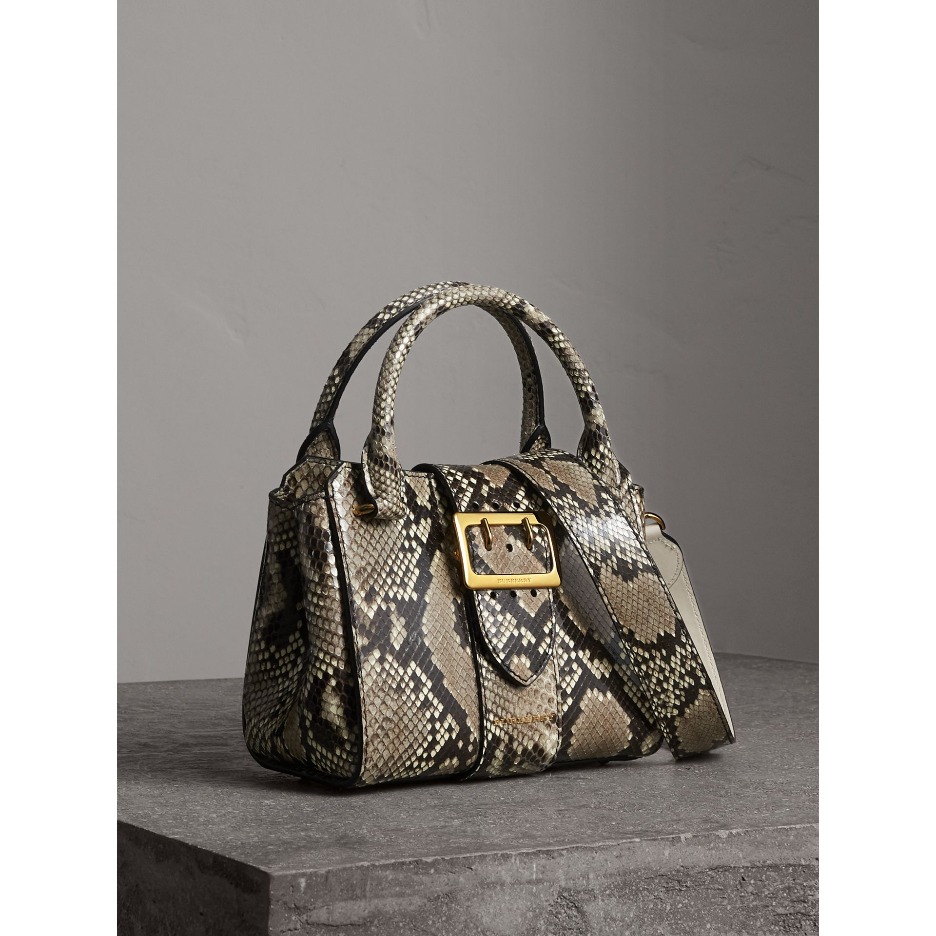 The Small Buckle Tote in Python in Natural - Women | Burberry - gallery image 7