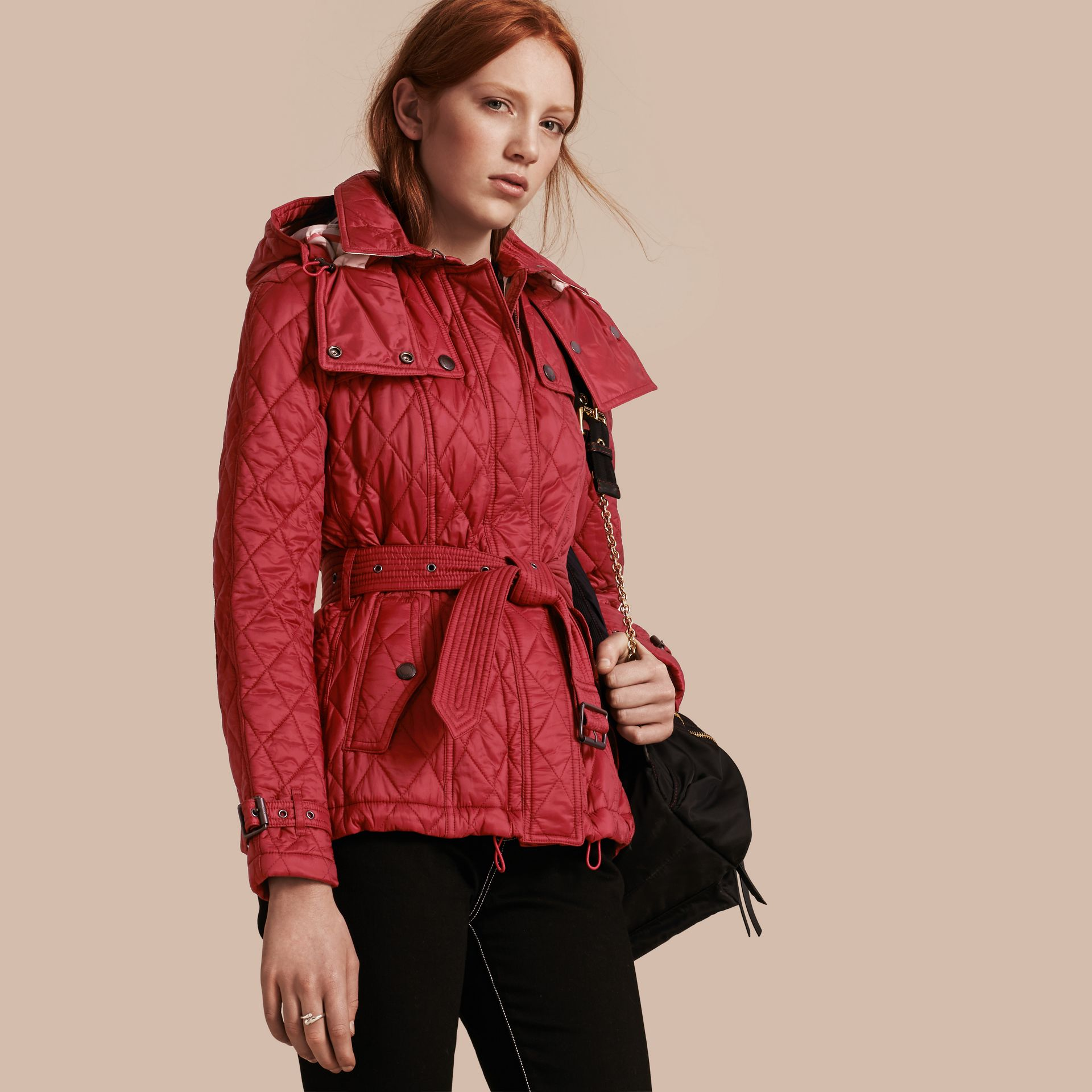 Quilted Trench Jacket with Detachable Hood Dark Crimson - gallery image 1