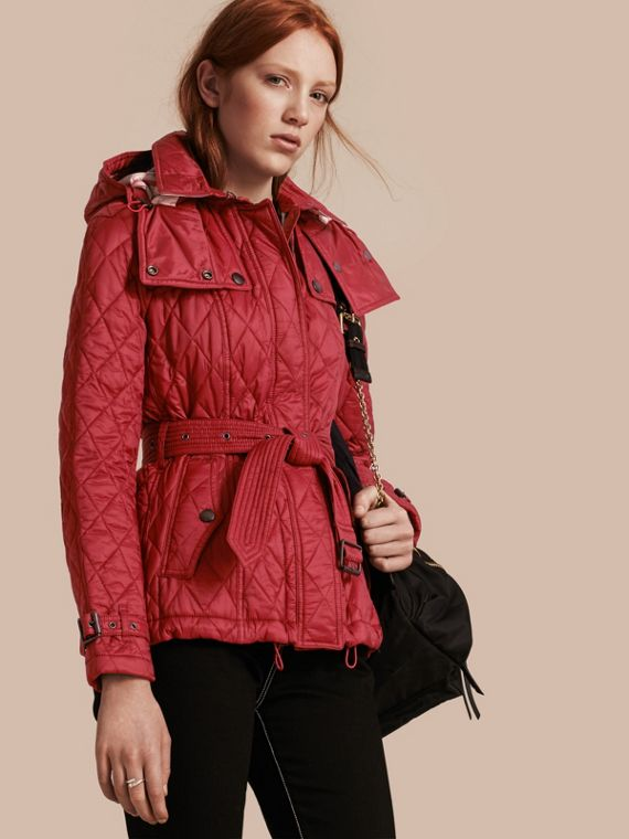 Quilted Trench Jacket with Detachable Hood Dark Crimson