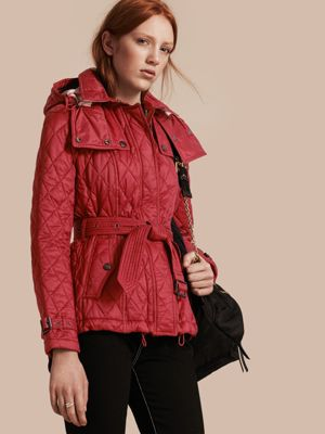DARK CRIMSON Quilted Trench Jacket with Detachable Hood 产品图片01