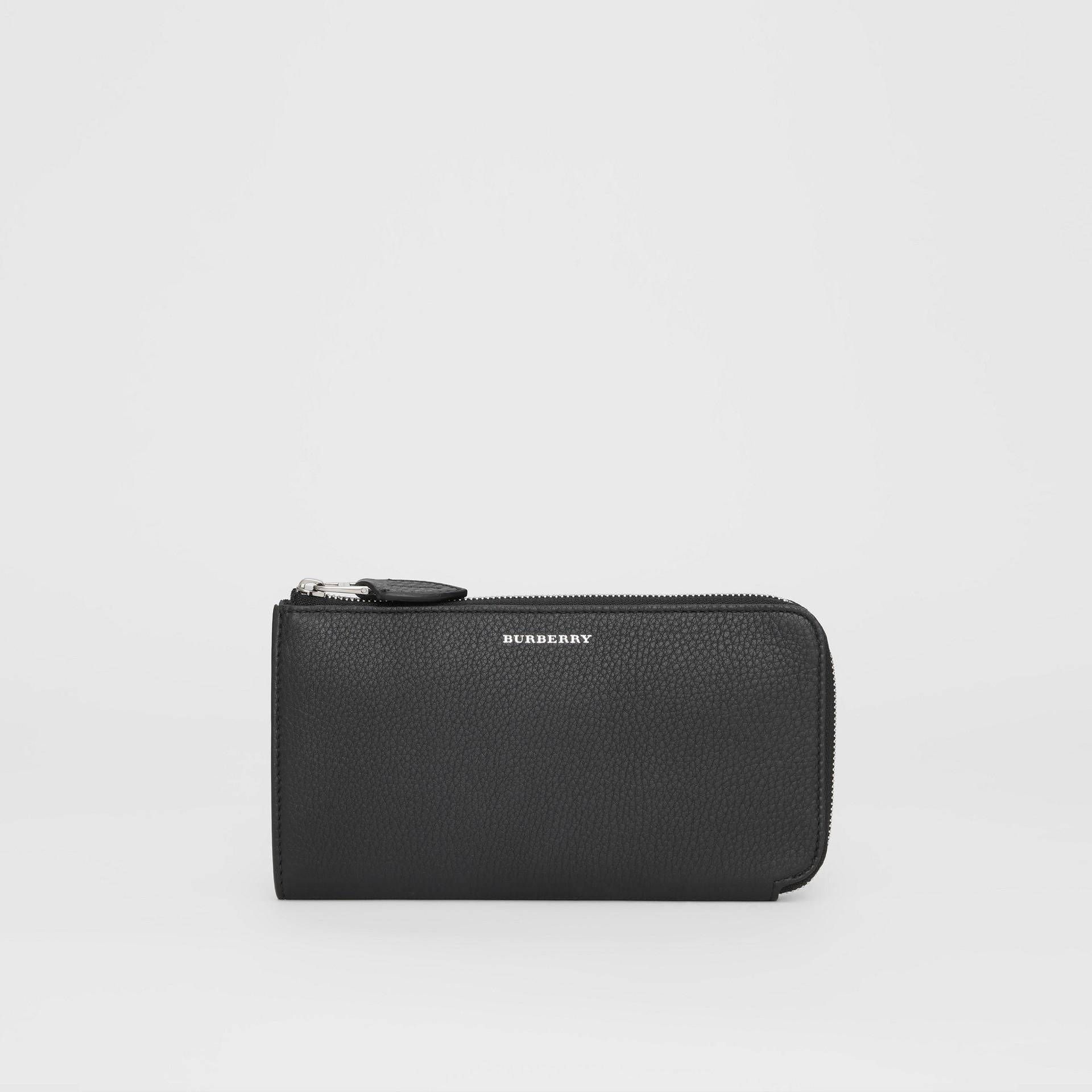 Portefeuille zippé avec porte-monnaie en cuir bicolore (Noir) - Femme | Burberry Canada - photo de la galerie 0