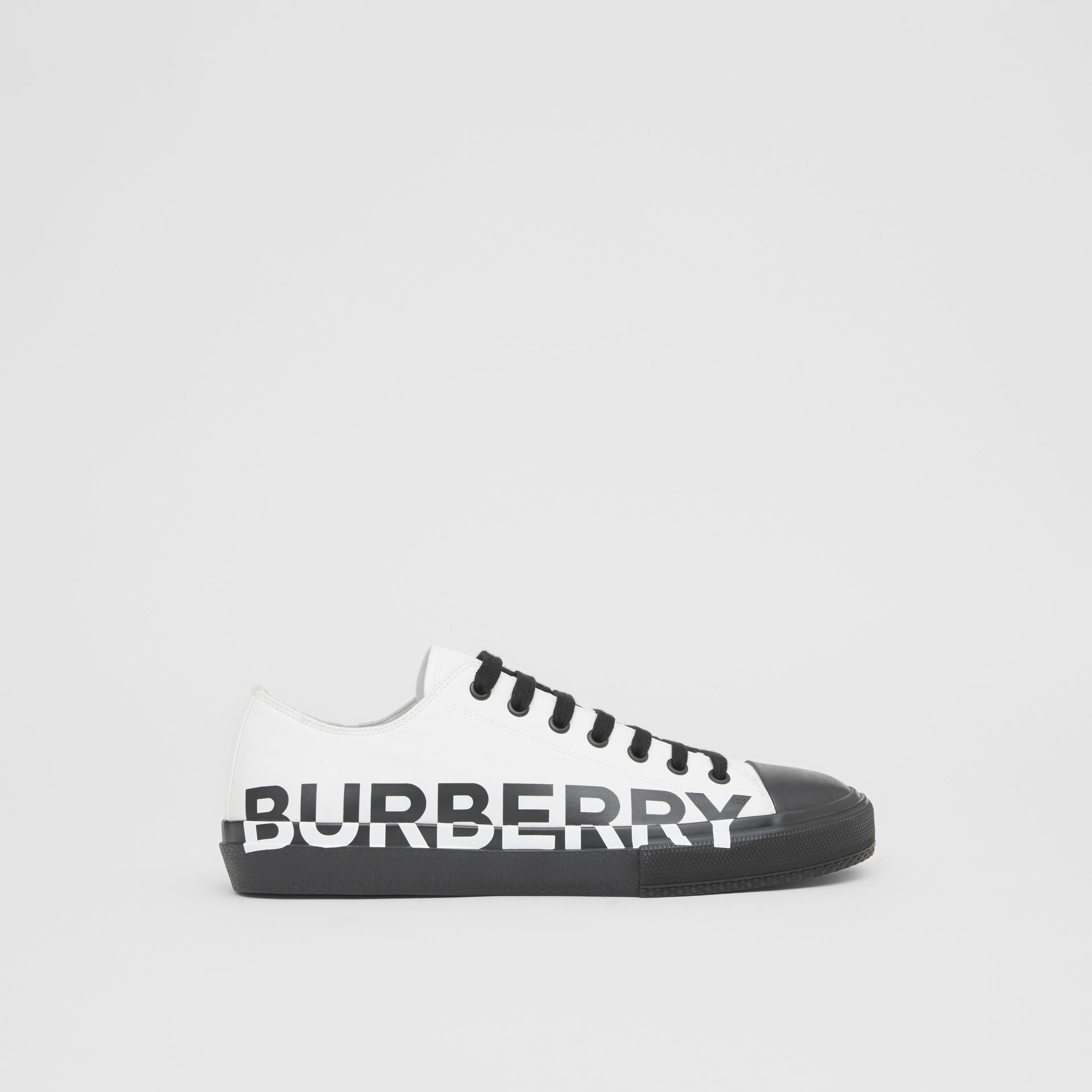 Logo Print Two-tone Cotton Gabardine Sneakers in Optic White/black - Men | Burberry Singapore - gallery image 4