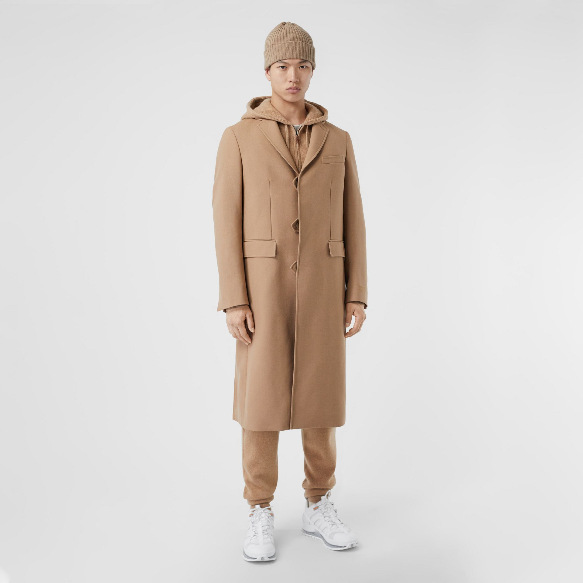 Logo Embroidered Wool Coat in Camel - Men | Burberry Singapore - gallery image 4