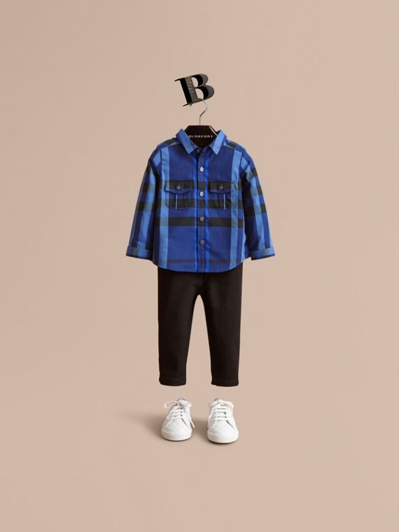 Check Cotton Shirt in Brilliant Blue | Burberry Canada