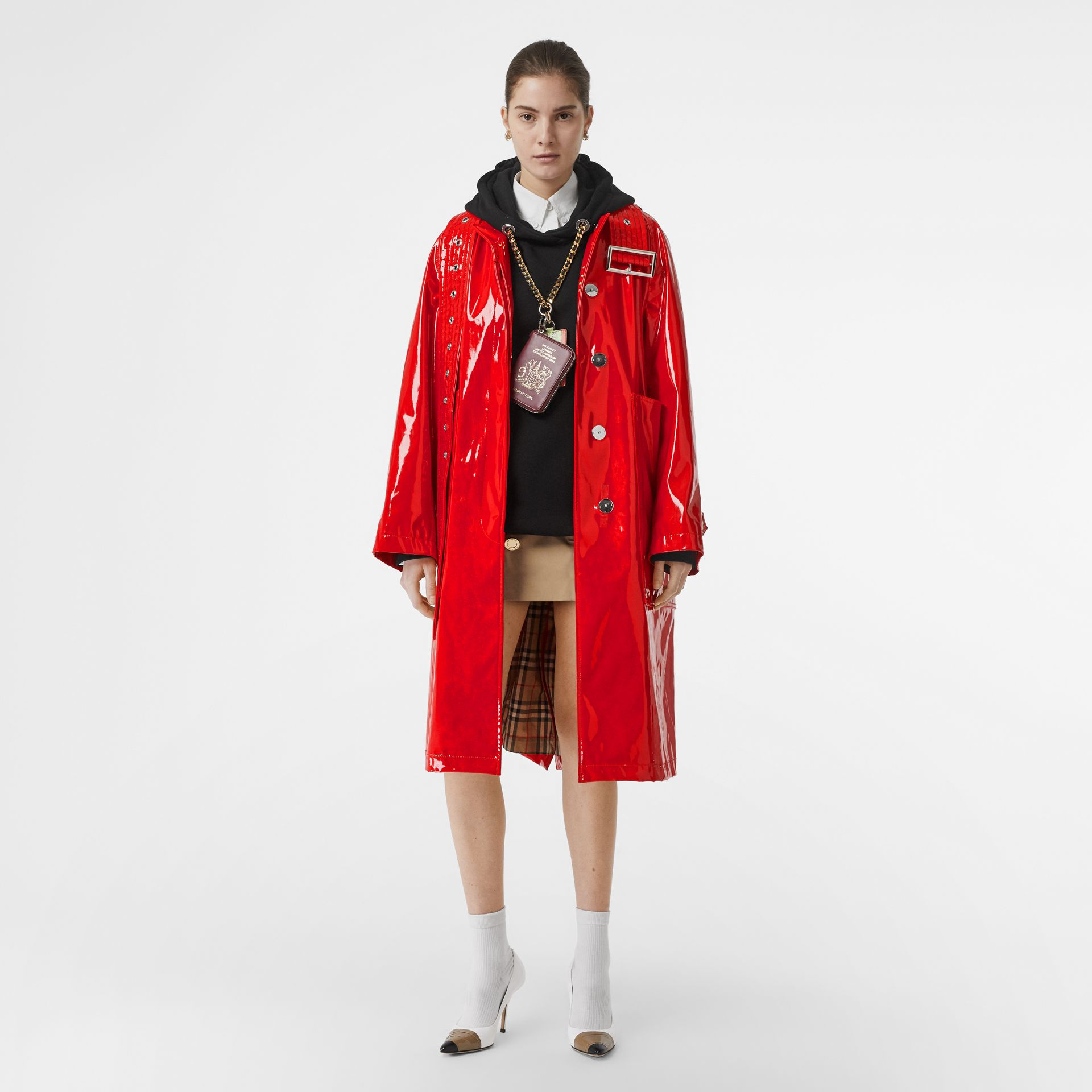 Belt Detail Laminated Car Coat in Bright Red - Women | Burberry - gallery image 0