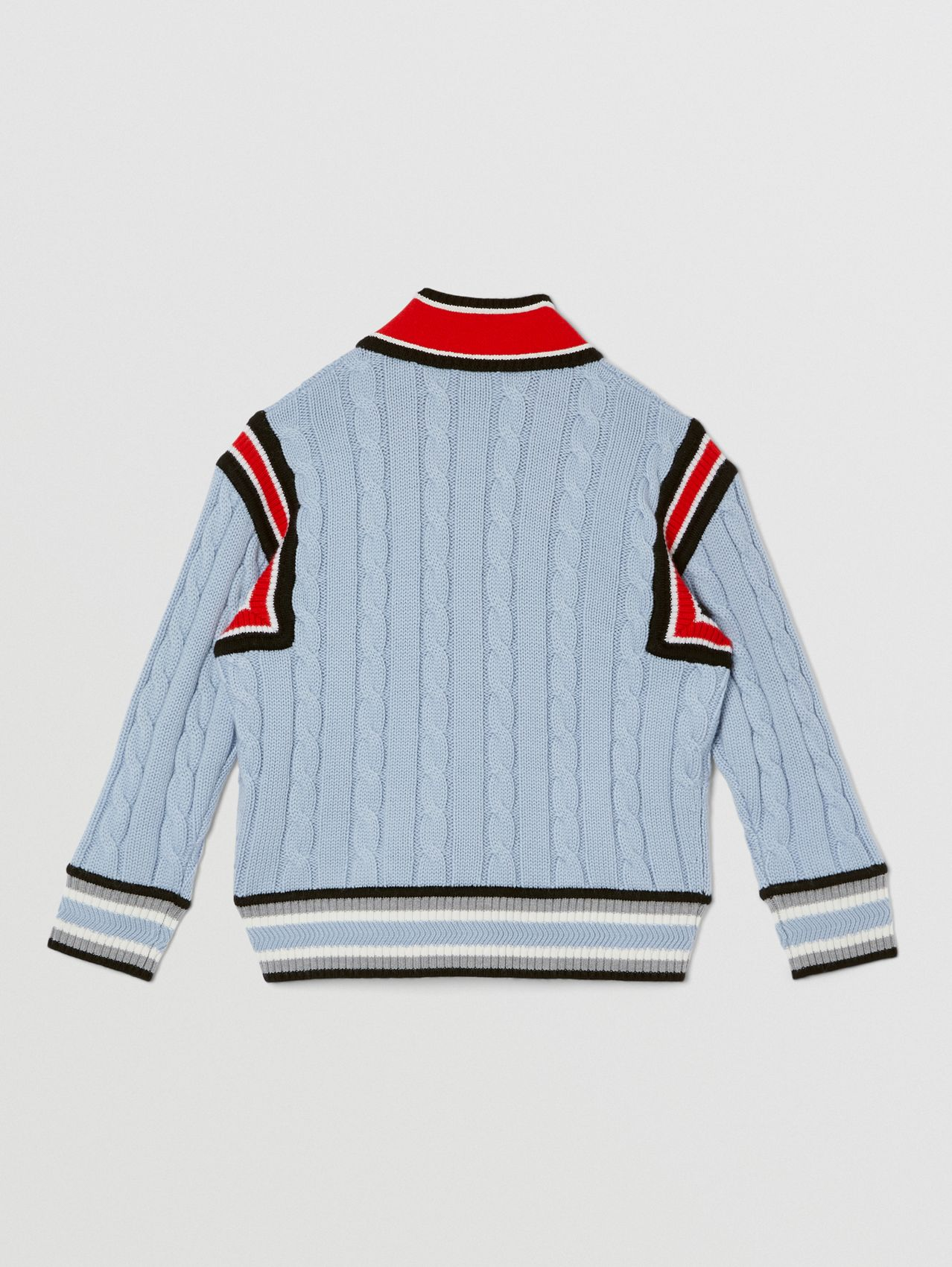 Logo Jacquard Cable Knit Merino Wool Cardigan in Light Blue