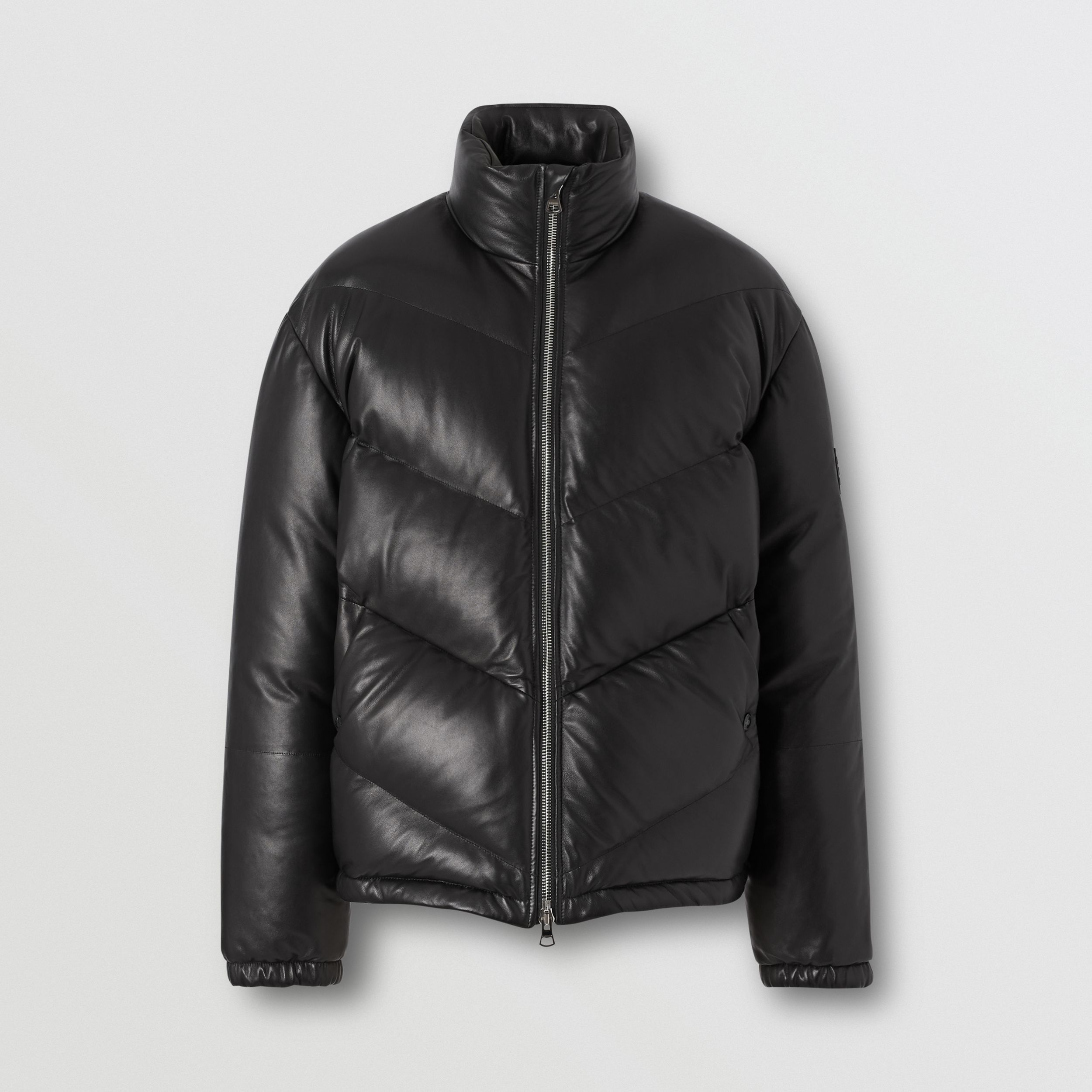 Logo Appliqué Lambskin Puffer Jacket in Black - Men | Burberry - 4
