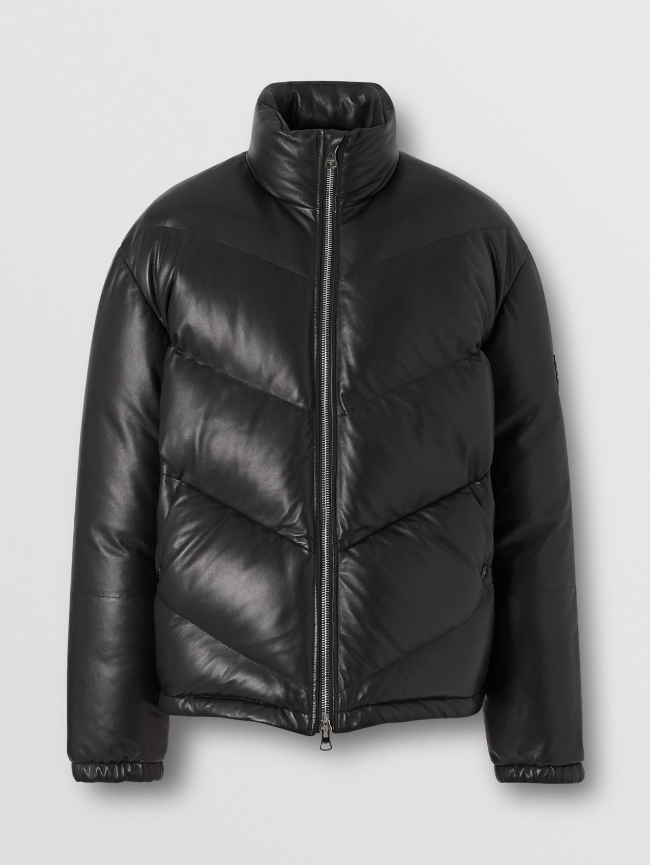 Logo Appliqué Lambskin Puffer Jacket in Black
