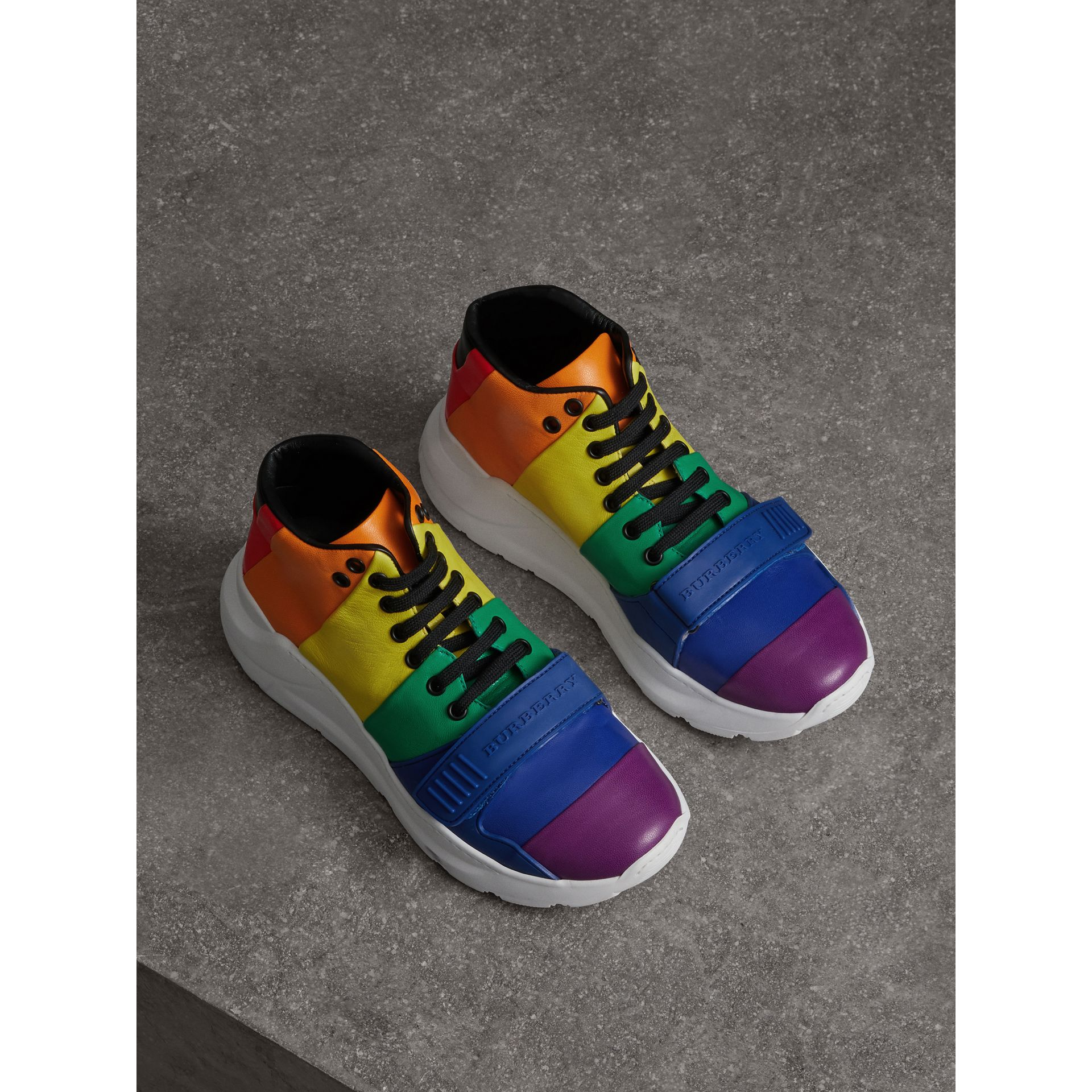 Rainbow Leather High-top Sneakers - Women | Burberry - gallery image 4