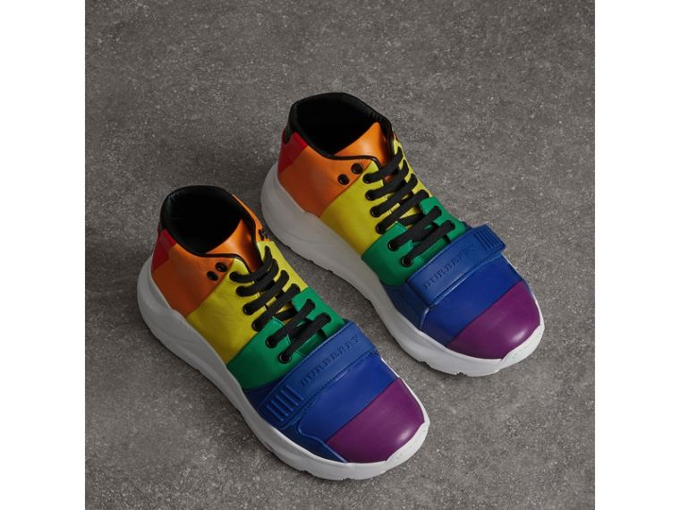 Rainbow Leather High-top Sneakers - Women | Burberry - cell image 4