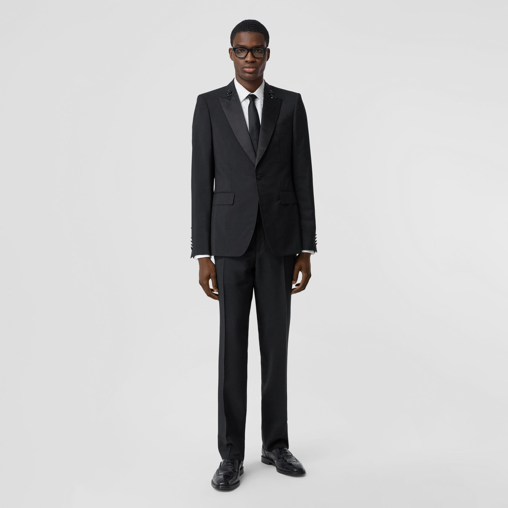 English Fit Embellished Mohair Wool Tuxedo Jacket in Black - Men | Burberry - gallery image 6