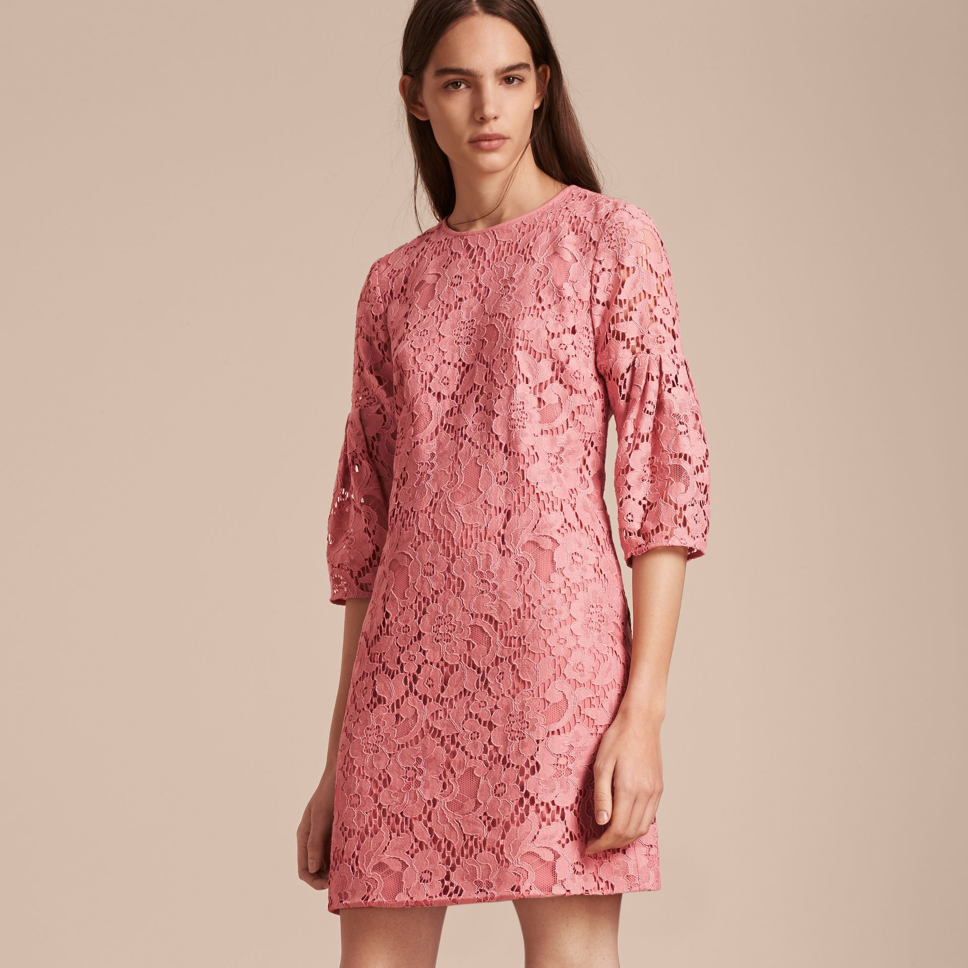 Puff-sleeved Floral Lace Shift Dress Antique Rose - gallery image 6