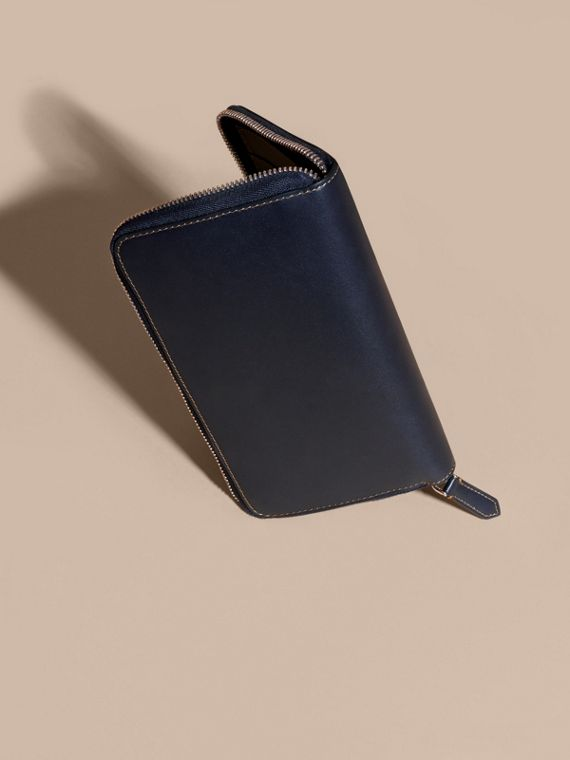 Dark navy Smooth Leather Ziparound Wallet Dark Navy - cell image 3