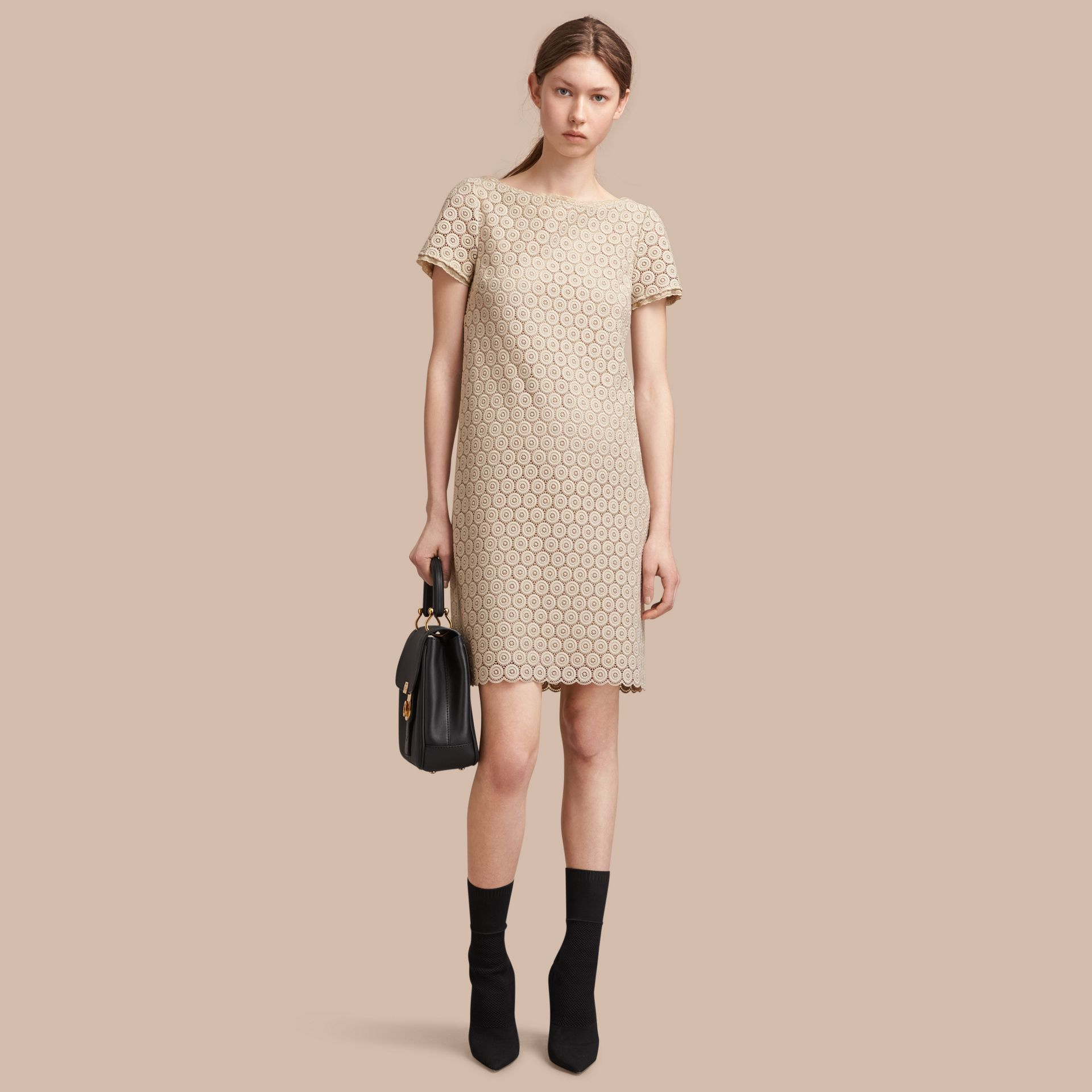 Short-sleeve Geometric Lace Dress in Stone - Women | Burberry Canada - gallery image 1